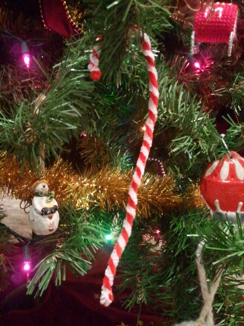 Candy cane hanging on our Christmas tree
