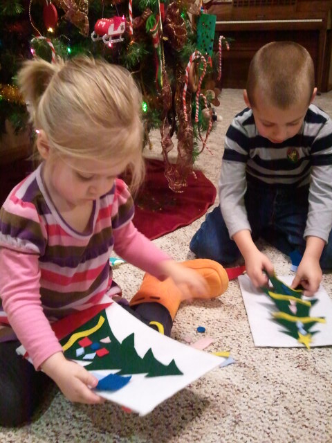 Jackson and Lauren created their own Christmas trees, again and again.