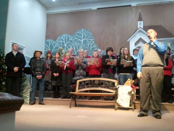 The audience was invited to sing along at the end of the church musical Sunday.