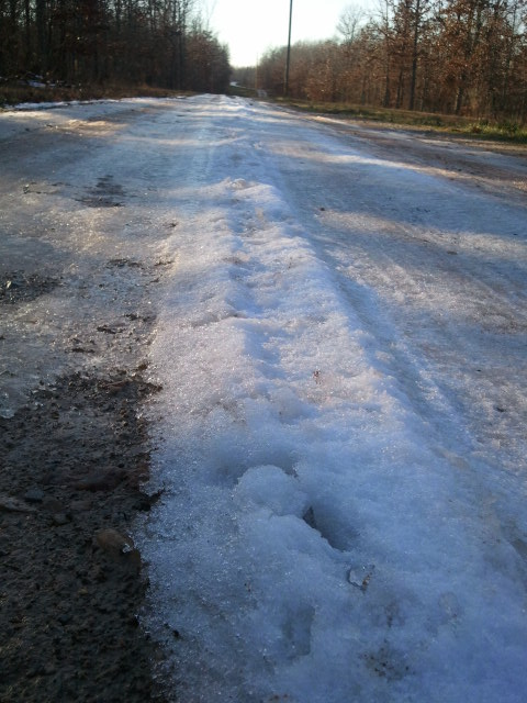 Snow remained on our lane long after the rest melted