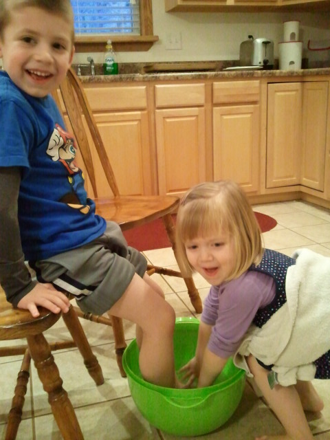 The kids loved washing each others feet, like Jesus did with His disciples!