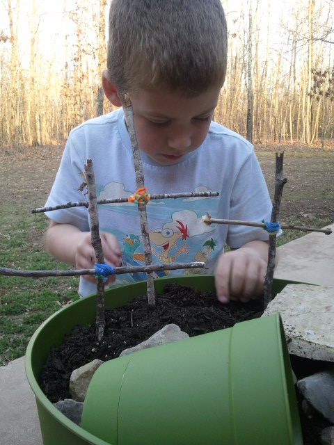 Jackson finds a good spot to plant his morning glory seeds.