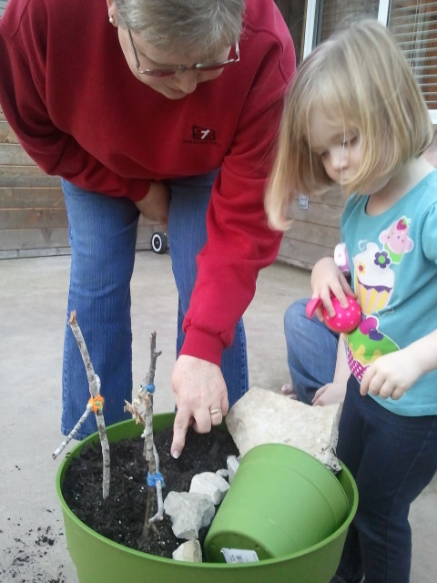 Grandma helped Lauren find a good spot to plant her seeds.