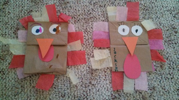Our turkey puppets