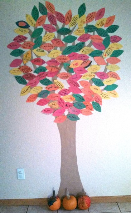 We have worked on our Thankful Tree all month, but a smaller-scale version is perfect on Thanksgiving!