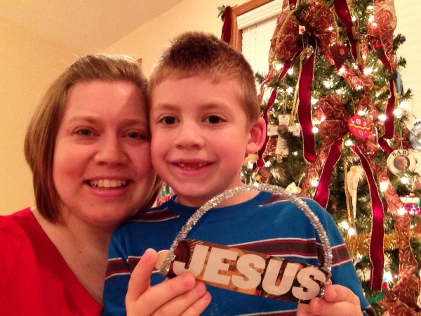 Jackson, me and the Jesus ornament