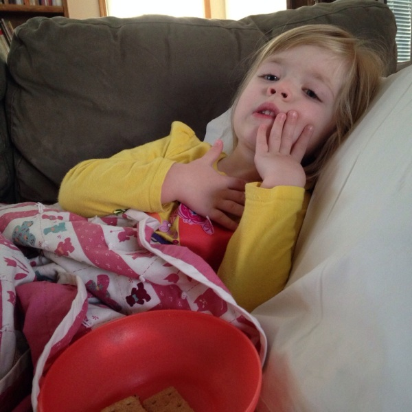 Lauren has spent much of the last few days on the couch, trying to get well.