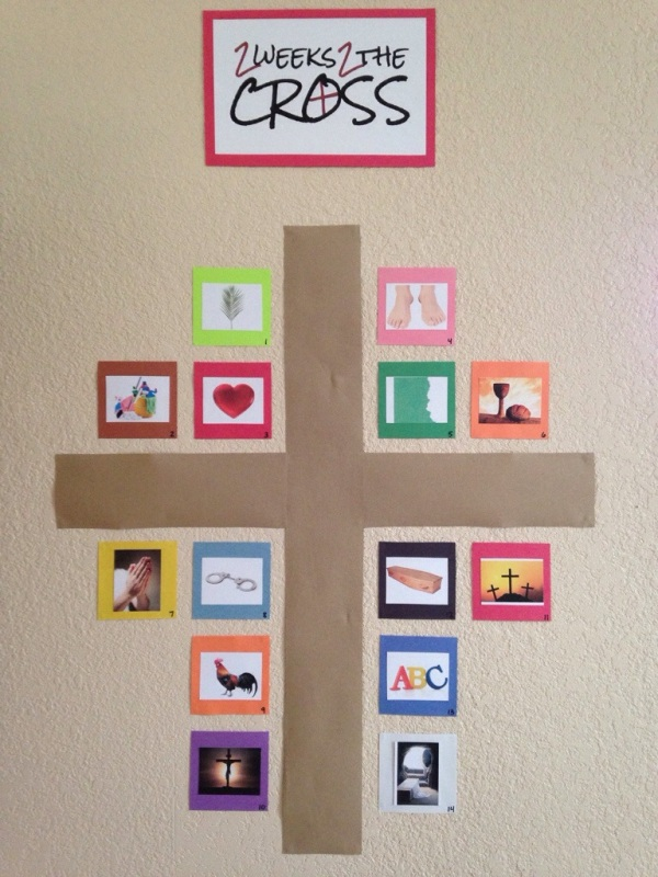 "Each day of 2 Weeks 2 the Cross, we will look at one icon around the cross hanging on a prominent wall in our living room. For example, the first day, the image is of a palm branch. The theme for that day is ""Jesus came to save me."" We will read Mark 11:1-11 together, and then make construction paper palm branches and shout Hosanna to imagine what it was like when Jesus made His triumphal entry into Jerusalem."