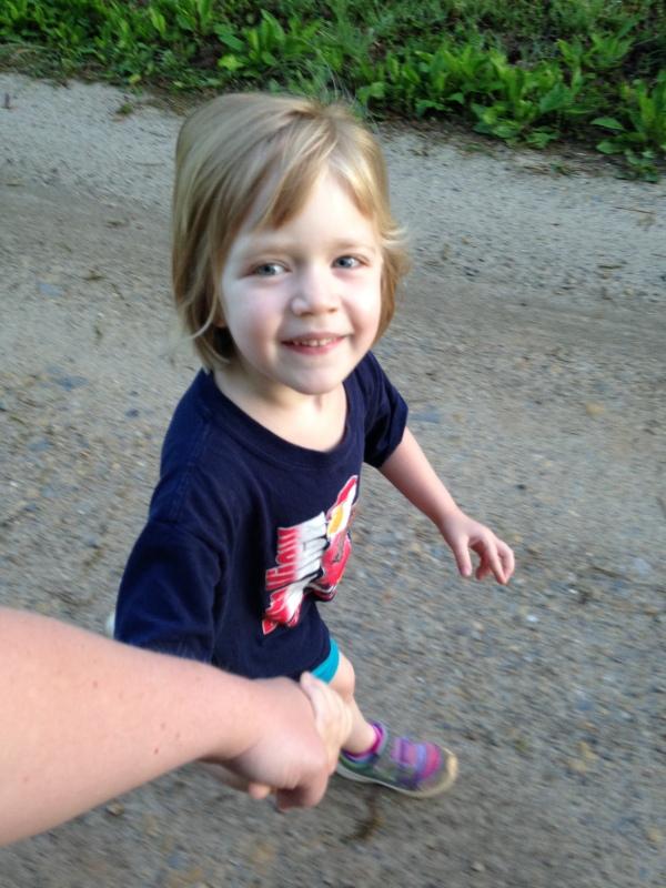 Lauren and I walk hand in hand.