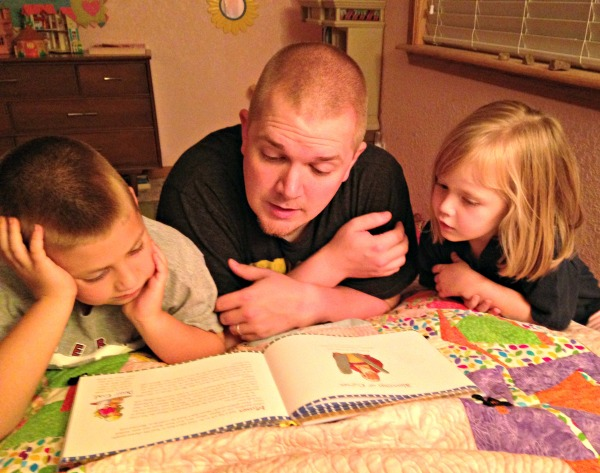 Reading our bedtime devotions
