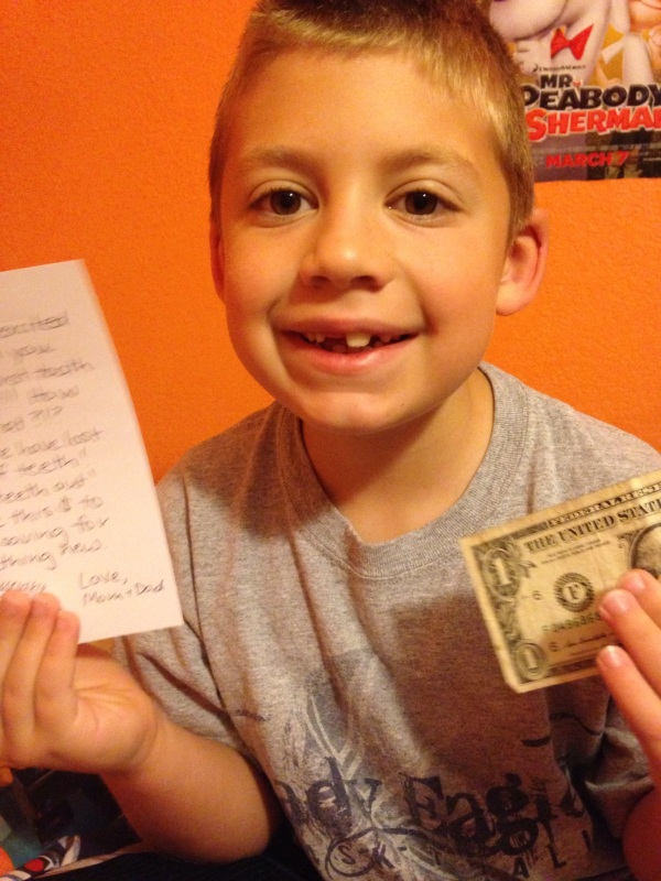 Jackson woke up this morning with a gift under his pillow for losing another tooth!