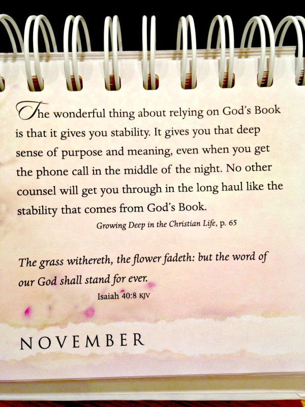 One of my calendar devotions this month