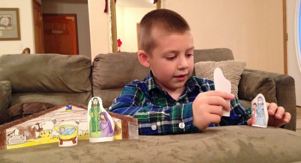 Jackson tells the story of God's great love with the Nativity scene he made.