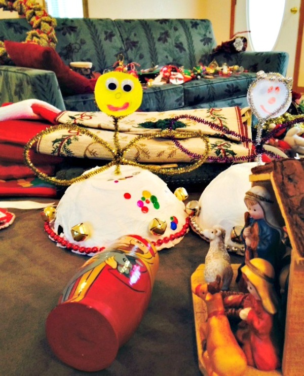 The ornaments and Christmas crafts and decorations piled up as I worked to pack it all up.