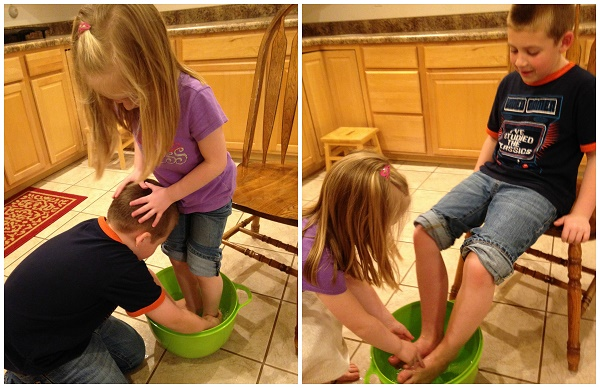 Jackson and Lauren wash each other's feet