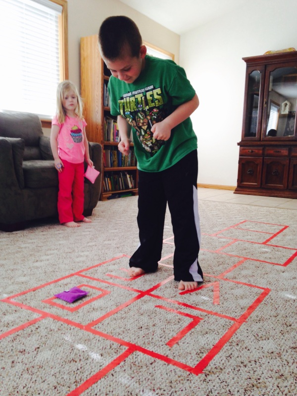 Jackson and Lauren play Love hopscotch