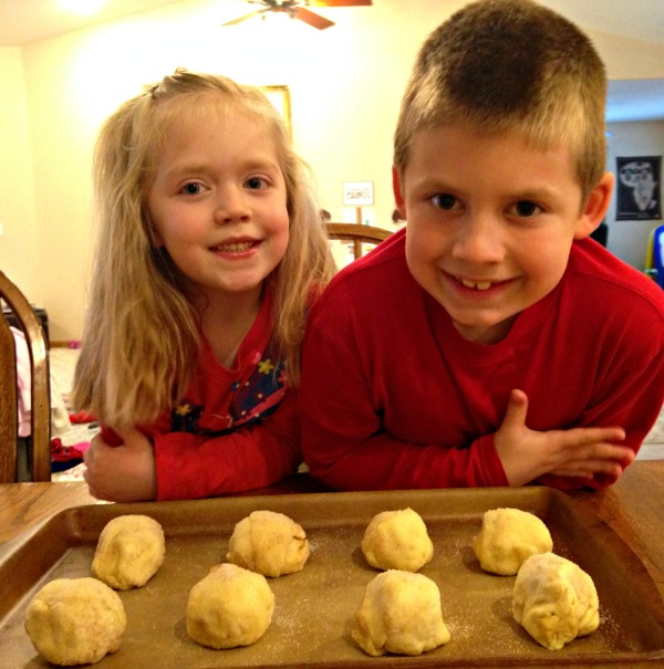 Lauren and Jackson with their Resurrection Rolls before baking
