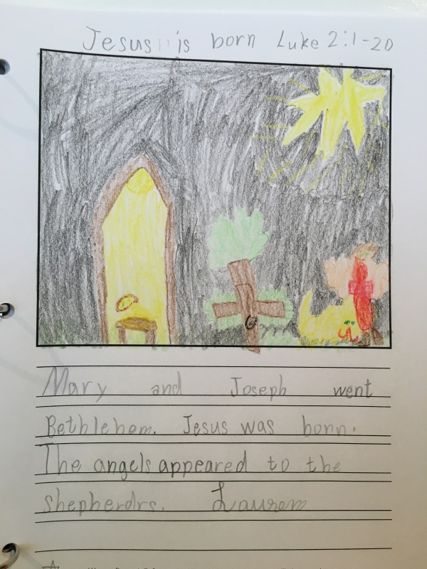 This is Lauren's first devotion page. She started reading about the life of Jesus in her Bible, and this is her synopsis and illustration!