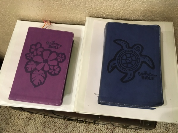 The kids' Bibles and devotion binders
